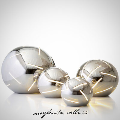 Sphere table lamps RADI  white glaze.  Margherita Vellini - Ceramic Lamps -  Home Lighting Design - Made in Italy