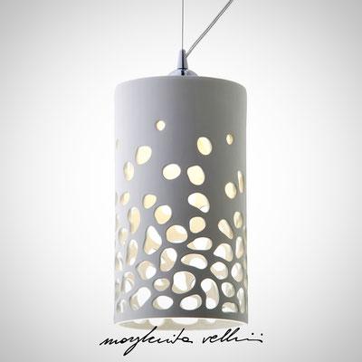 Sospensione cilindro  BLOB Maiolica smalto bianco lucido - Margherita Vellini - Lampade in ceramica - Home Lighting Design