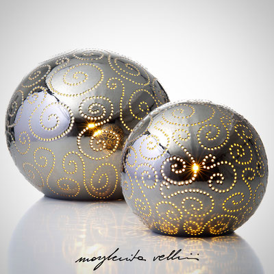 Sphere table/floor lamps  SPIRALI precious metal Platinum 15%  Margherita Vellini - Ceramic Lamps -  Home Lighting Design - Made in Italy