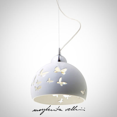 Pendant lamp FARFALLE shiny white glaze. Margherita Vellini - Ceramic Lamps -  Home Lighting Design - Made in Italy