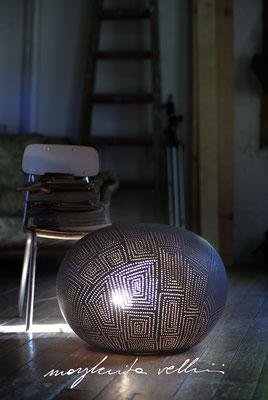 Lampade da tavolo / terra Sasso SPIRALI QUADRE marrone opaco Margherita Vellini Ceramica Italiana fatta a mano Home Lighting Design