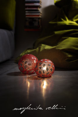 Sphere lamps AMANITA red and white glaze. Margherita Vellini Italian handmade ceramics. Home Lighting Design