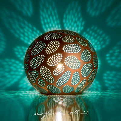 Sphere table/floor lamps CELLULE precious metal red gold 15% and teal green glaze. Margherita Vellini - Ceramic Lamps -  Home Lighting Design - Made in Italy
