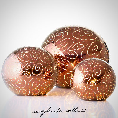 Sfere SPIRALI metallo prezioso Bronzo (oro rosso) 15%  Margherita Vellini  - Lampade in ceramica  - Home Lighting Design