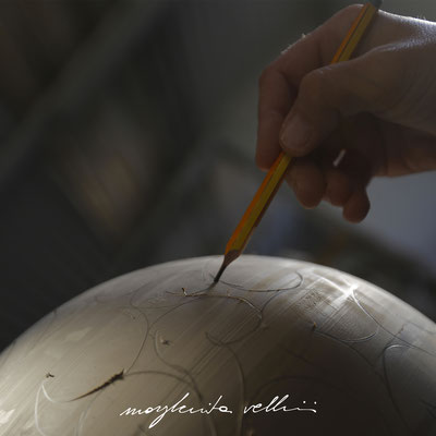 Pencil drawing for the BAROCCO carving. Margherita Vellini Ceramic Lamps.  Made in Italy. Home Lighting Design