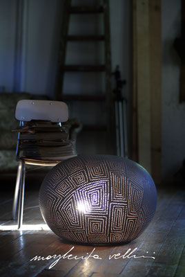Stone table/floor lamps SPIRALI QUADRE matte brown glaze. Margherita Vellini - Ceramic Lamps -  Home Lighting Design - Made in Italy