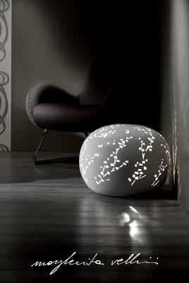 Lampade da tavolo / terra Sasso RAMAGE Maiolica smalto bianco lucido Margherita Vellini Ceramica Italiana fatta a mano Home Lighting Design