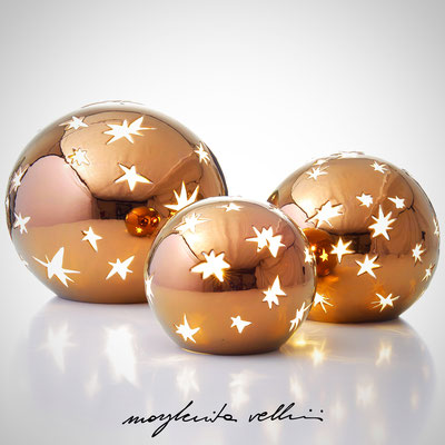 Sfere MATISSE metallo prezioso Bronzo (oro rosso) 15%. Margherita Vellini Ceramica italiana fatta a mano Home Light Design