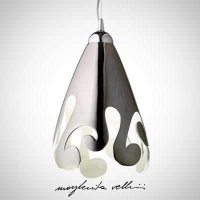 Sospensione ogiva taglio BAROCCO finitura in metallo prezioso Platino 15%  - Margherita Vellini - Lampade in ceramica - Home Lighting Design