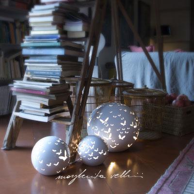 Table/Floor lamps FARFALLE shiny white glaze. Margherita Vellini - Ceramic Lamps -  Home Lighting Design - Made in Italy