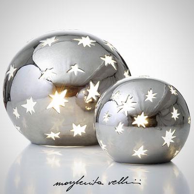 Sfere MATISSE metallo prezioso Platino15%. Margherita Vellini Ceramica italiana fatta a mano Home Light Design