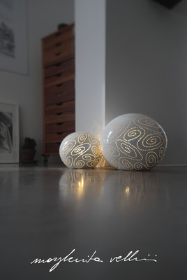 Sphere table/floor lamps SPIRALI shiny white glaze. Margherita Vellini - Ceramic Lamps -  Home Lighting Design - Made in Italy
