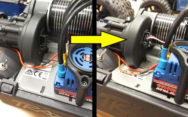 Wer sich einen neuen Traxxas E-Revo kauft, findet meistens eine solche Mulde in der Getriebeabdeckung. Diese ist für den Drehzahl-Sensor vorgesehen. Weiteres Material zur Montage ist nicht nötig.
