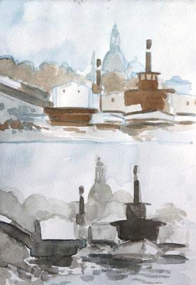 Zwei Studien, Wirkung von warmen und neutralem Braun, Raddampfer vor der Frauenkirche Dresden, Enno Franzius