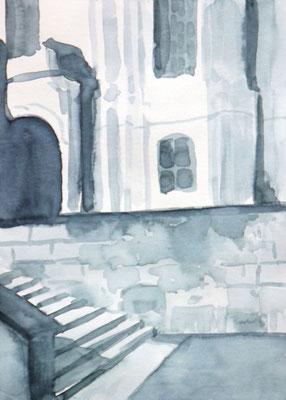 Studie für monochrome Malerei, Michel mit Treppe in Hamburg, Enno Franzius