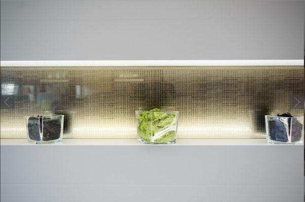 Glas mit Struktur als Verbundglas im Wohnzimmer
