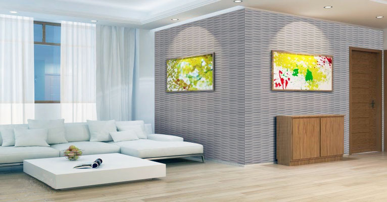 Die kreative Gestaltung mit 3D-Reliefplatten - auch im privaten Wohnbereichen.
