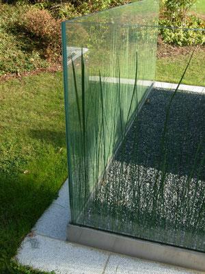 Glas Windfang aus VSG, Gras und Schilf in Glas eingebettet