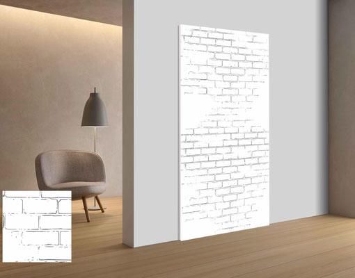 Wandgestaltung mal anders! Akustikplatte mit Bedruckung als Mauer Optik.