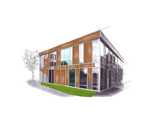 Innovative Planung mit metalsign Metalloberflächen in der Fassade.
