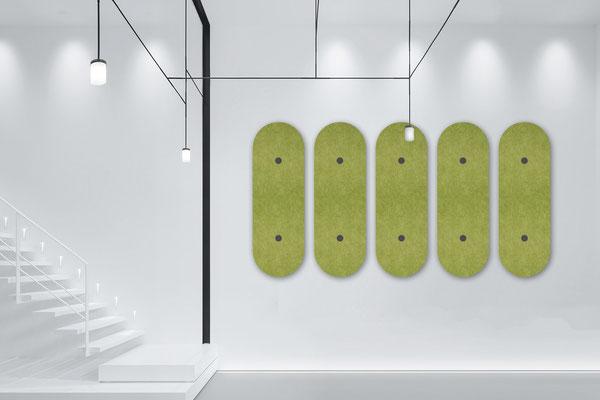 Umweltfreundliche Schallabsorber für die Wand.