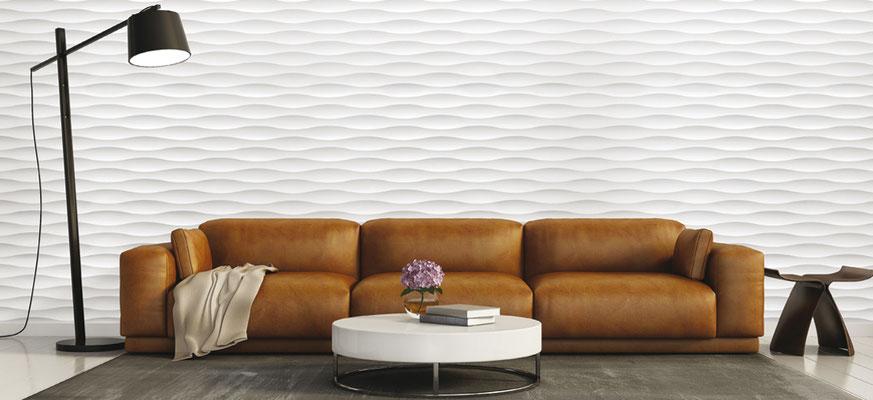 Große Wandbilder ergeben sich aus dem Rapport von Platte zu Platte, die eine fortlaufende Flächengestaltung erlauben.