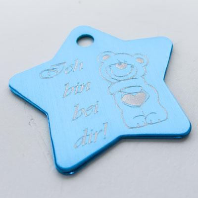 Schlüsselanhänger blauer Stern mit Lasergravur Ich bin bei dir