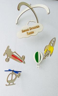 """Mobile """"Flugzeuge"""": Mobile aus Holz mit farbigem Filz individuell zu Gestalten und mit Name"""