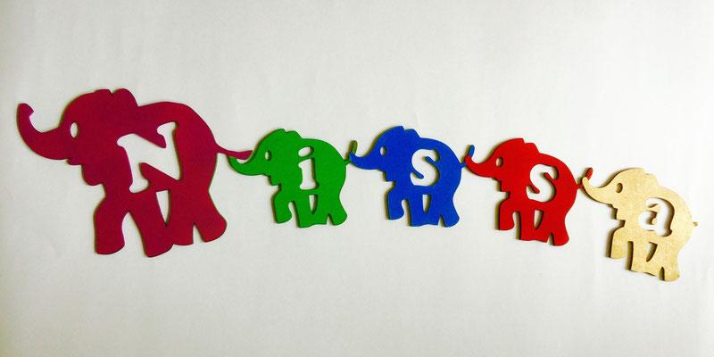 Personalisierbares Türschild Kinderzimmer Elefanten mit Name Lasergravur und Lasercut