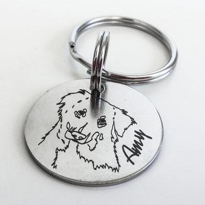 Hundemarke mit Lasergravur Name und Umriss aus Foto