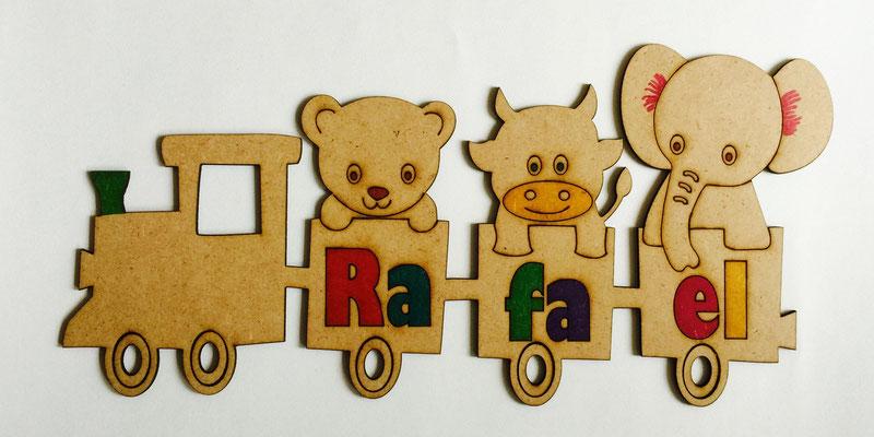Personalisierbares Türschild Kinderzimmer Zug mit Name Lasergravur und Lasercut