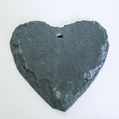 Schiefer Herz mit Loch -Ø 7cm