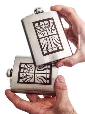 Flachmann mit Lasergravur - gebürsteter Chromstahl