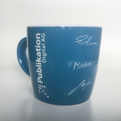 Tasse Lasergravur Unterschriften, Logo, Geburtstagswünsche Firmengeschenk