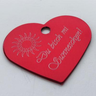 Schlüsselanhänger rotes Herz mit Lasergravur Du Busch mi Sunneschyn