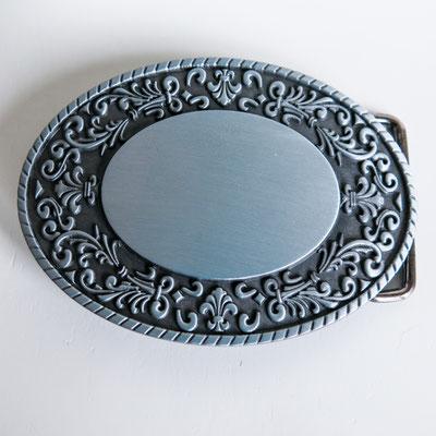 Gürtelschnalle für 4cm breite Gürtel - oval mit Ornamenten (Westernblumen)  9,2x6,7cm