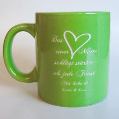 Tasse mit Lasergravur für Mama