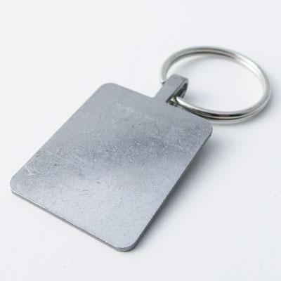 Schlüsselanhänger: silber, rechteckig - 3,8cm x 3,2cm, 1,5mm