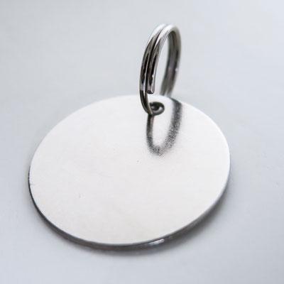 Schlüsselanhänger: silber, rund - Ø 3cm, 1mm