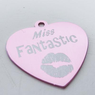 Schlüsselanhänger rosa Herz mit Lasergravur für deine Freundin Miss Fantastic