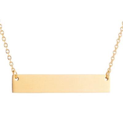 Namenskette gold quer mit Lasergravur deines Wunschtextes