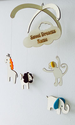 """Mobile """"Zoo"""": Mobile aus Holz mit farbigem Filz individuell zu Gestalten und mit Name"""