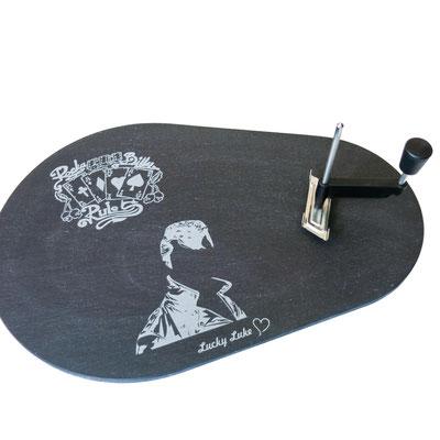 Tête de Moine Schieferplatte Lasergravur Stil Rockabilly zum Geburtstag