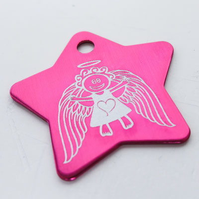 Schlüsselanhänger pinker Stern mit Lasergravur Vorderseite Schutzengel