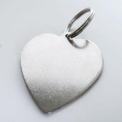 Schlüsselanhänger: silber, Herz - Ø 3,5cm, 1mm