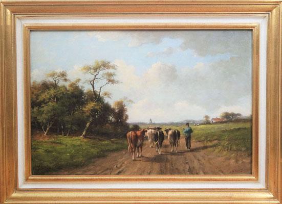 """Adrianus Marinus """"Andre"""" Geijp (1855-1926)   Haagse School   Olieverf op doek   Doekmaat: 37 cm. x 54 cm.   """"Vee-gezicht""""   Taxatiewaarde: 1.150,= euro   Met echtheidscertificaat en taxatierapport"""