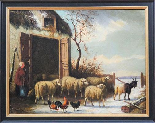 """Laurens Plas (1828-1888)   Hollandse Romantiek 19e eeuw   Olieverf op paneel   Paneelmaat: 35 cm. x 46 cm.   """"Veegezicht met schapen""""   Taxatiewaarde: 1.250,= euro   Met echtheidscertificaat en taxatierapport"""