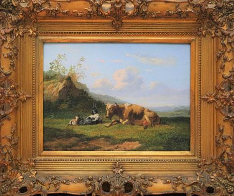 """Johannes Hubertus Leonardus de Haas (1832-1908)   Hollandse Romantiek 19e eeuw   Olieverf op paneel   27 cm. x 35,5 cm.   """"Veegezicht met koe,geit en schaap""""   Taxatiewaarde: 3.250,= euro   Met echtheidscertificaat en taxatierapport"""