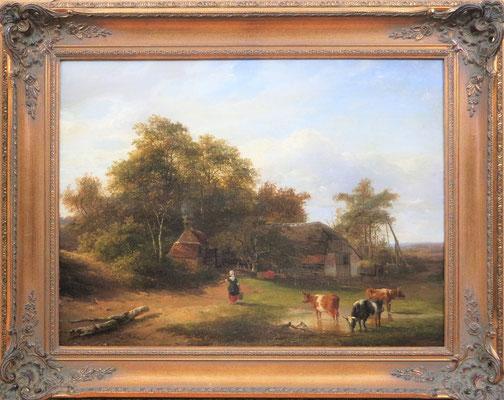 """Willem Roelofs (1822-1897)   Haagse School   Olieverf op paneel   Paneelmaat: 38 cm. x 51 cm.   """"Landschap met boerderij, boerin en vee""""   Taxatiewaarde: 9.500,= euro   Met echtheidscertificaat en taxatierapport"""