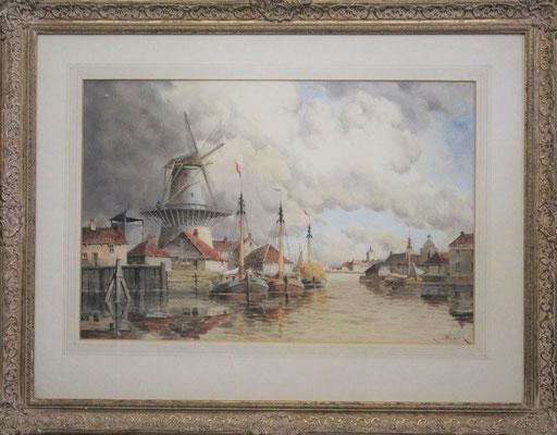 """Hermanus Koekkoek Jr (1836-1909)   19e eeuw   Aquarel op papier   Beeldmaat: 39 cm. x 59 cm.   """"Binnenhaven bij een molen""""   Taxatiewaarde: 1.450,= euro   Met echtheidscertificaat en taxatierapport"""